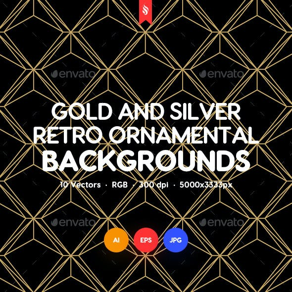 Gold and Silver Retro Ornamental Backgrounds