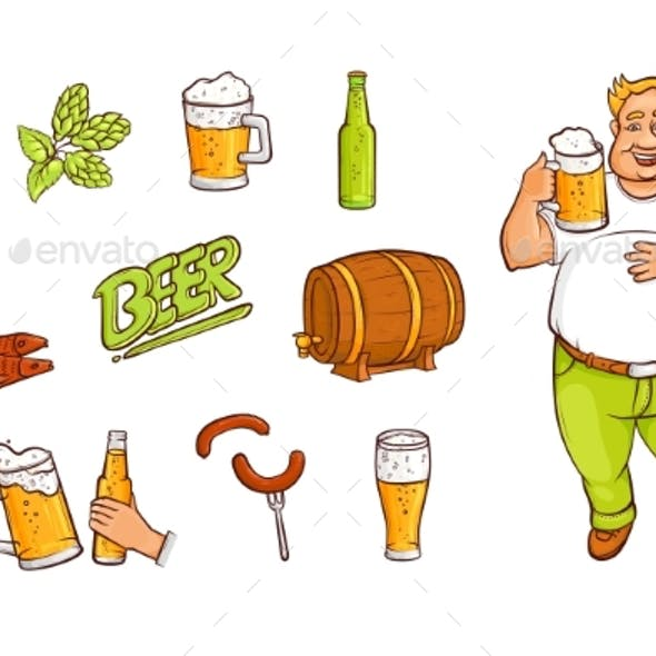 Beer and Drinking Man with Appetizers