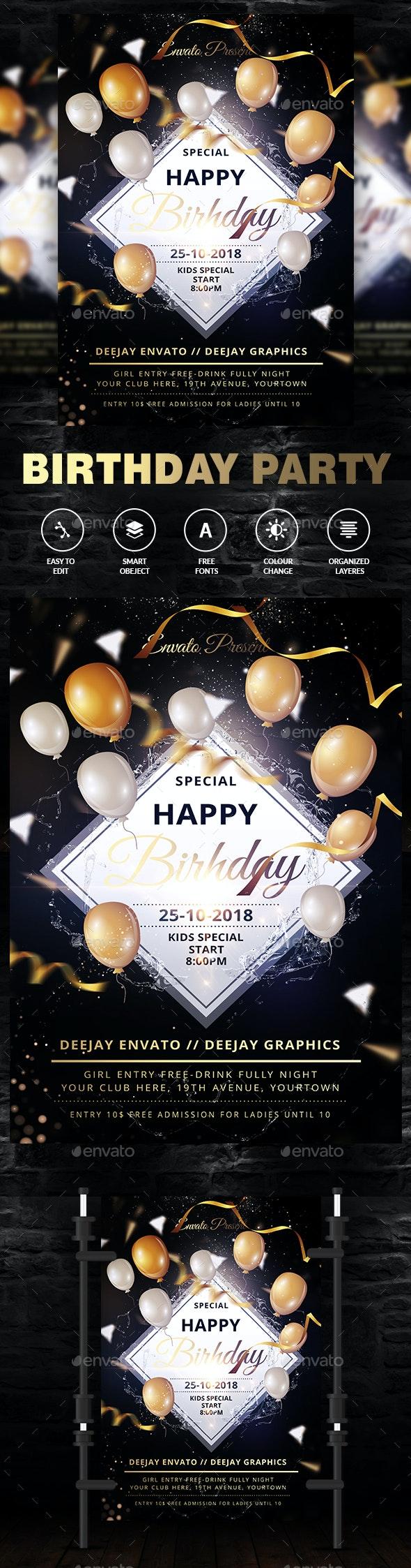 Kids Birthday Party Invitation - Events Flyers