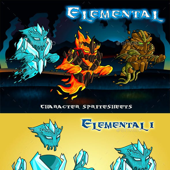 Elemental 2D Game Character Sprite Sheet