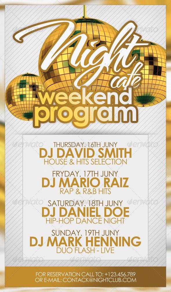 Weekend Program Flyer Template - Clubs & Parties Events