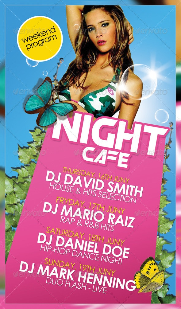 Night Cafe Flyer Template - Clubs & Parties Events