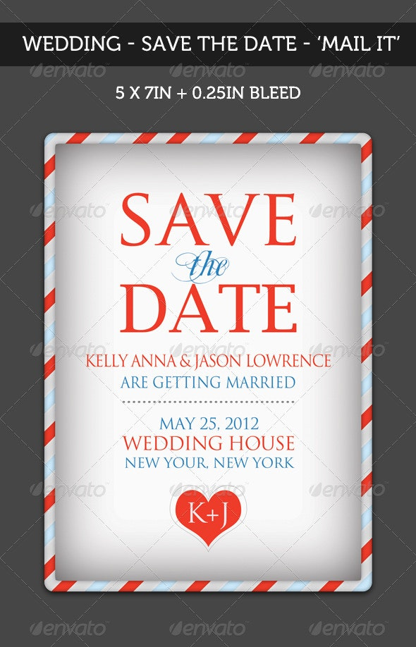 Wedding - 'Save the Date' - Mail It  - Miscellaneous Print Templates