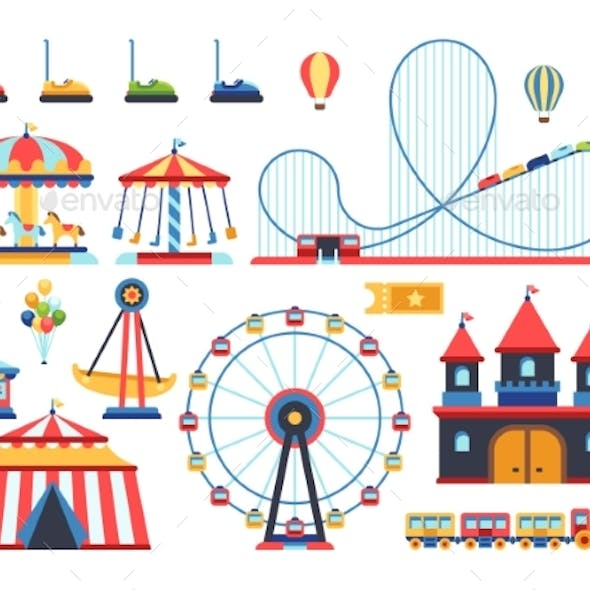 Amusement Park Attractions. Train, Ferris Wheel