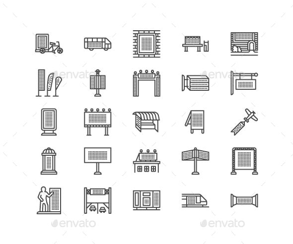 Outdoor Advertising Line Icons - Business Icons