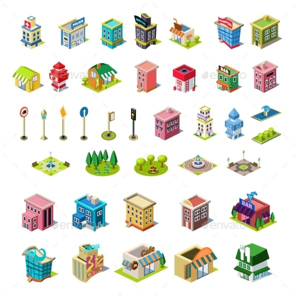 Isometric Vector Icons Set for City Constructor