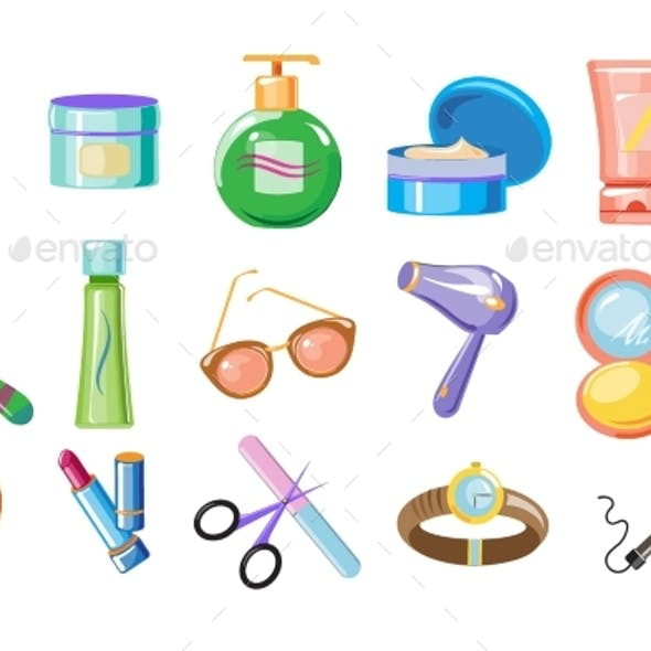 Set of Women Accessories for Skincare and Hygiene
