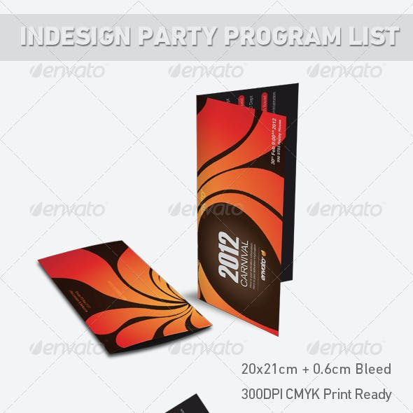 Indesign Party Program List