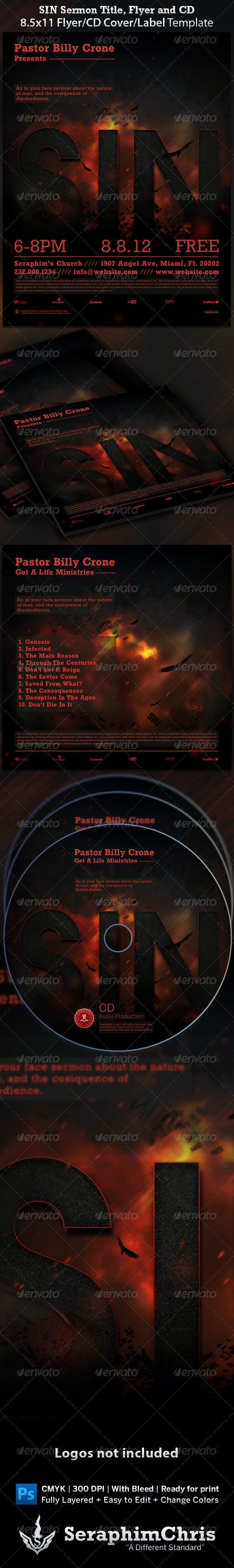 Sin - Sermon Title Flyer and CD Cover Template - Church Flyers
