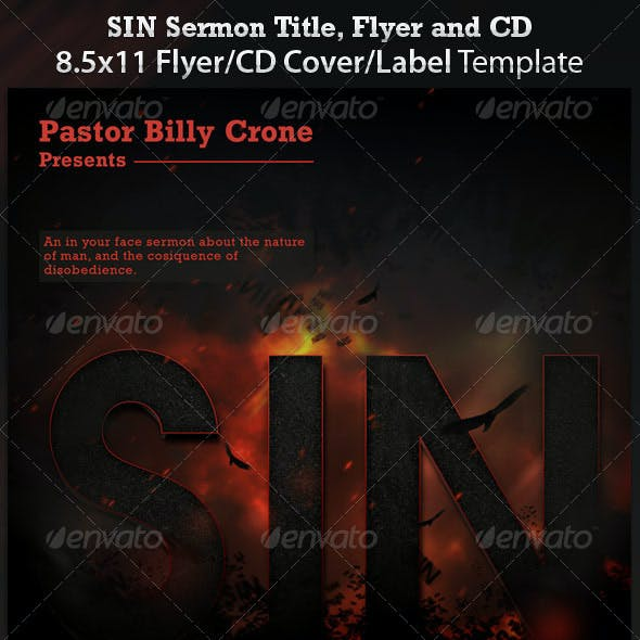 Sin - Sermon Title Flyer and CD Cover Template