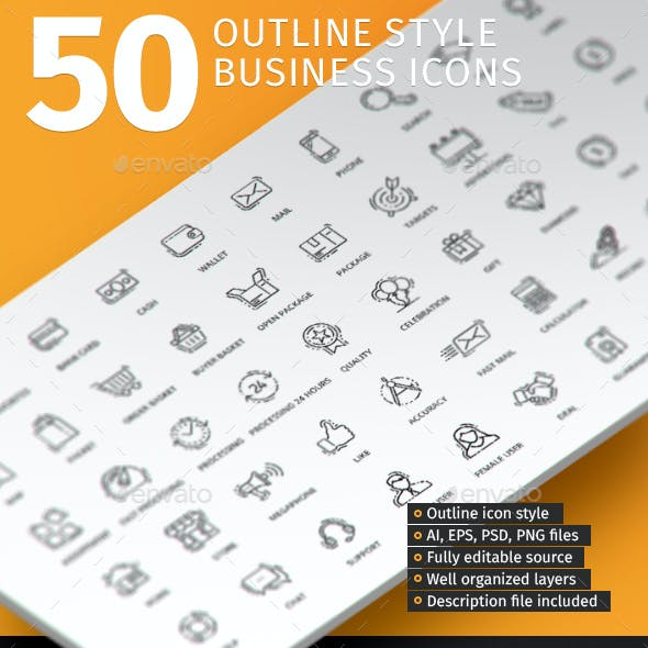 50 Outline Style Business Icons