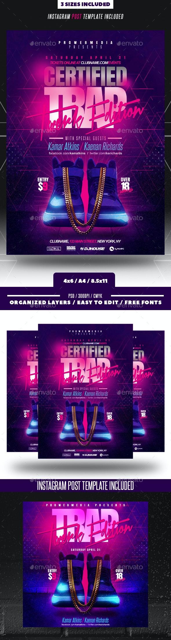 Rap Hip-Hop Trap Party Flyer - Clubs & Parties Events