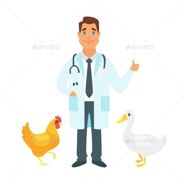 Veterinarian Doctor with Farm Birds