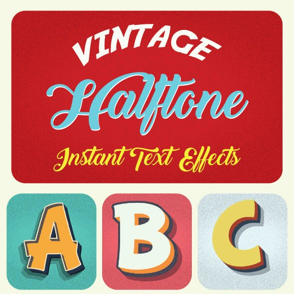 Vintage Halftone Text Effects