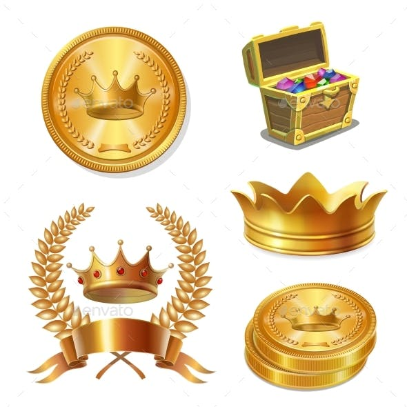 Royal Golden Crowns, Coins and Treasure Chest Set