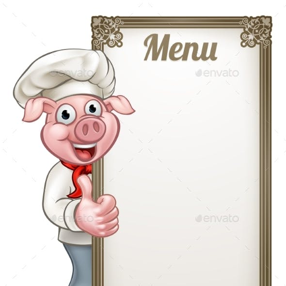 Cartoon Chef Pig Menu