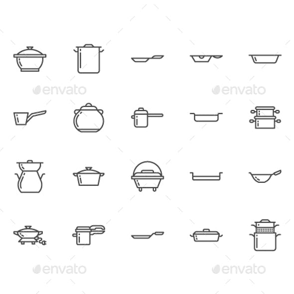 Pots, Pans Line Icons