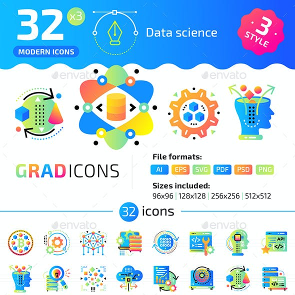 32+ Data Science Flat Icons