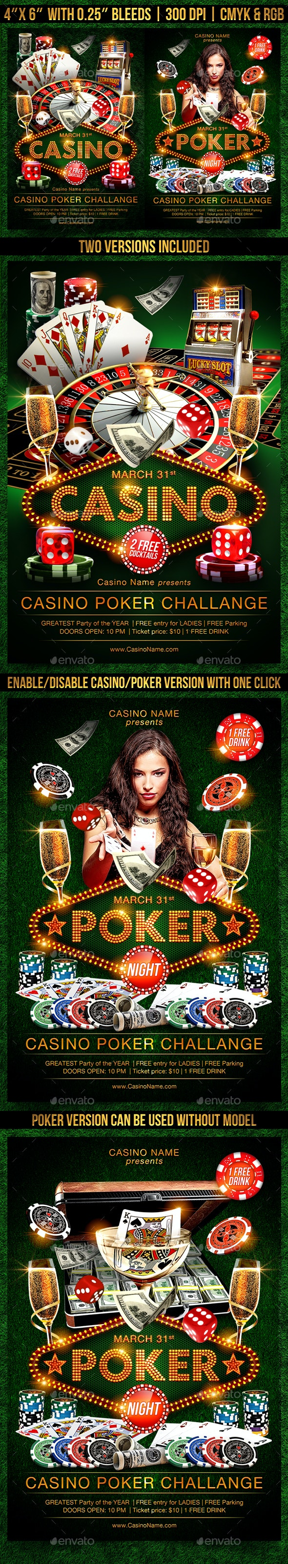 Casino Flyer Template - Clubs & Parties Events