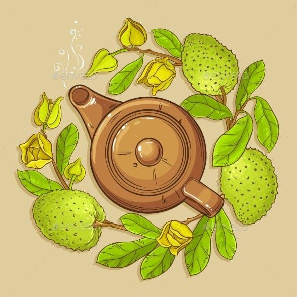 Soursop Tea Vector Illustration