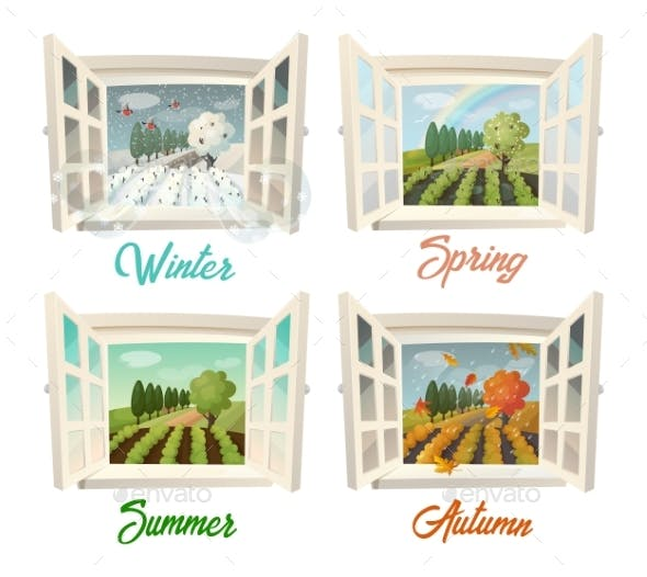 Summer and Winter, Spring and Autumn Village View
