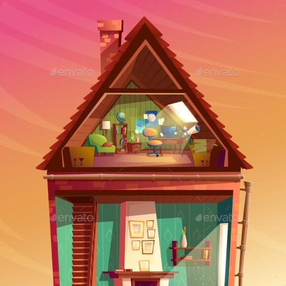Vector House Interior in Section Cartoon