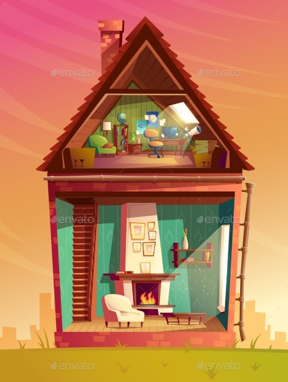 Vector House Interior in Section Cartoon - Buildings Objects