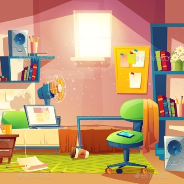 Vector Small Room, Cartoon Bedroom with Furniture