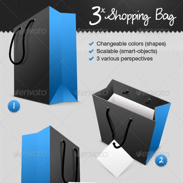 Shopping Bag In 3-Perspectives