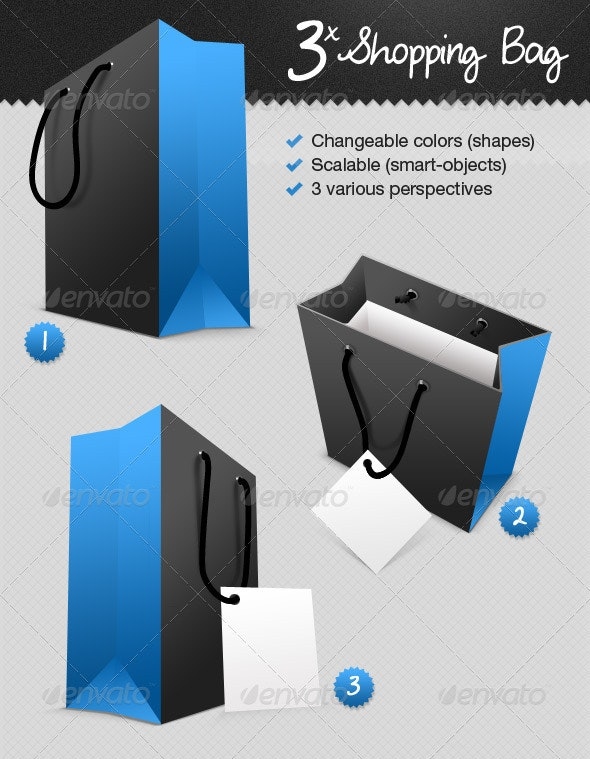 Shopping Bag In 3-Perspectives - Miscellaneous Packaging