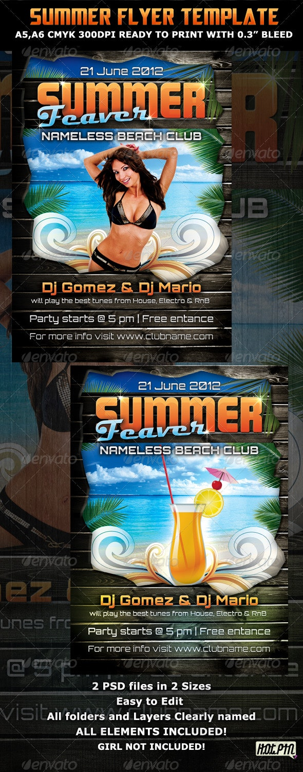 Summer Feaver Party Flyer Template - Clubs & Parties Events