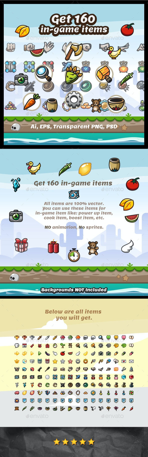 160 In-Game Items - Miscellaneous Game Assets