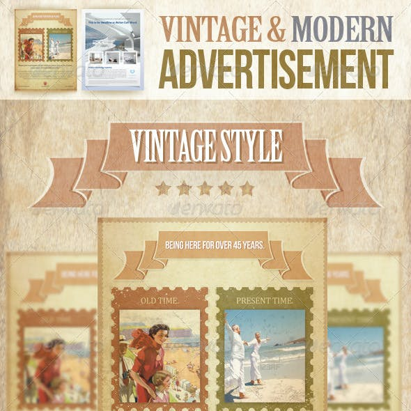 Vintage and Modern Advertisement PSD Template