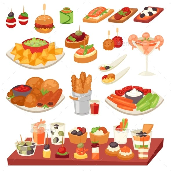 Appetizer Vector Appetizing Food and Snack Meal
