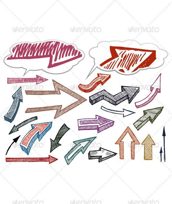 Hand drawn arrows illustration set - Decorative Symbols Decorative