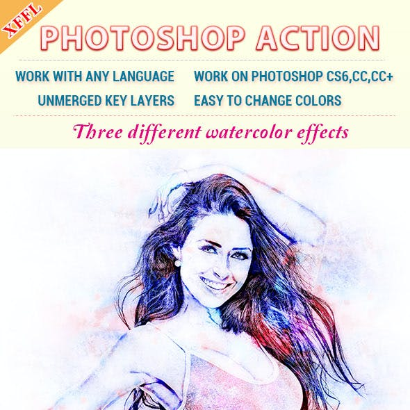 Shadowy Watorcolor Effect Photoshop Action