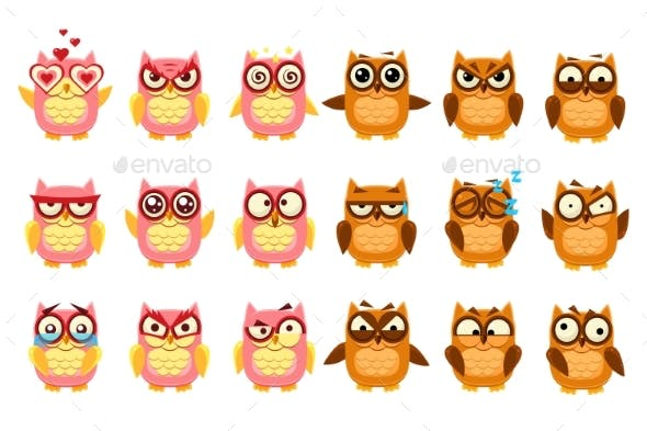 Owls Set, Funny Owlets with Various Emotions
