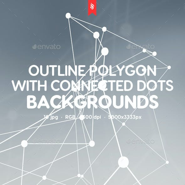 Outline Polygon with Connected Particles on Blurred Backgrounds