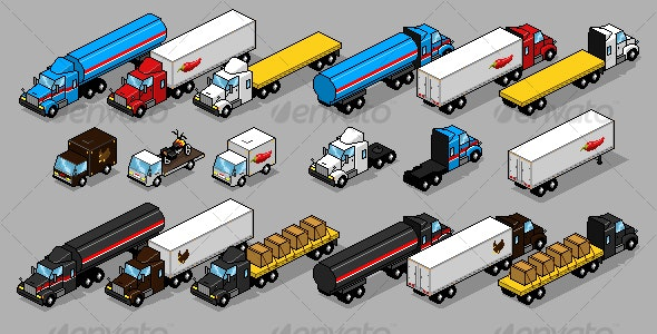 Pixel Art Truck Pack - Objects Illustrations