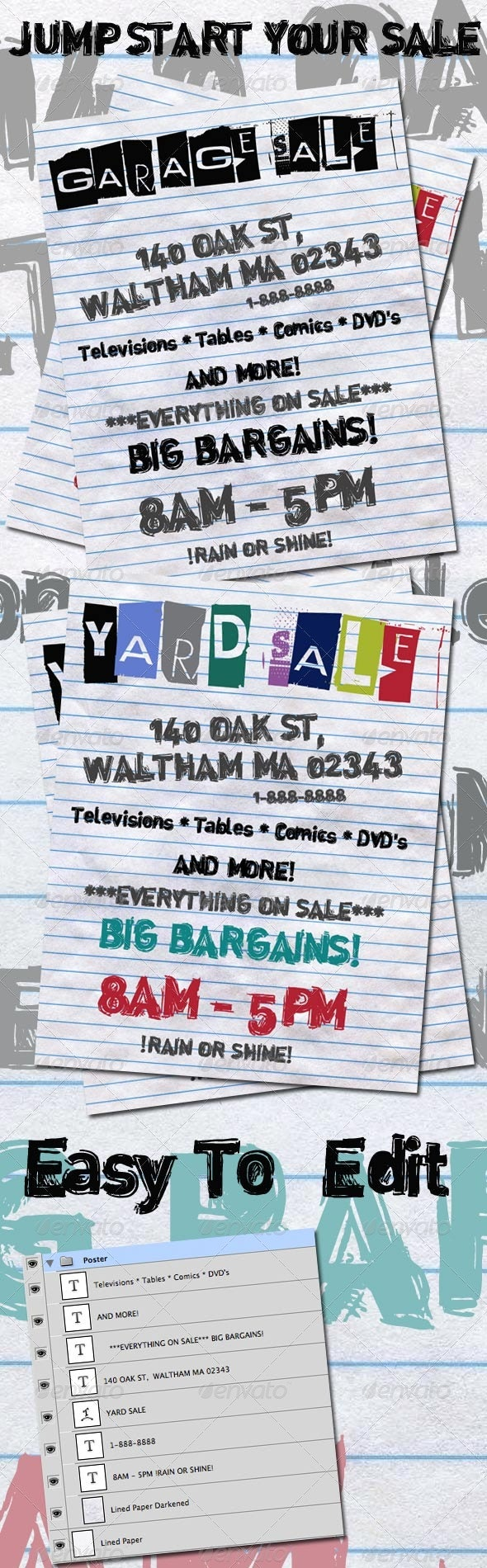 Yard Sale and Garage Sale Posters - Clubs & Parties Events