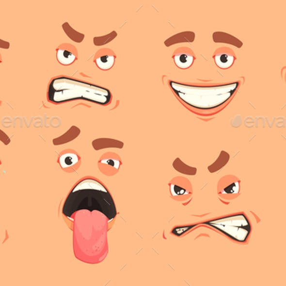 Cartoon Men Mouth Set