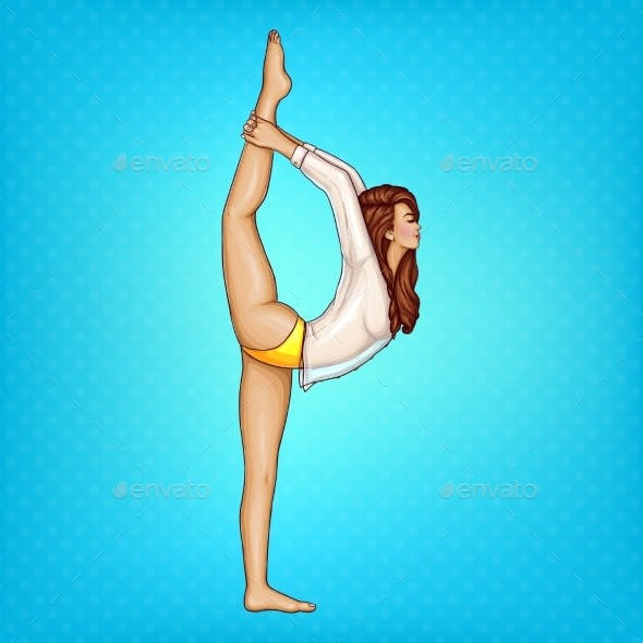 Vector Pop Art Girl Doing Gymnastics or Yoga