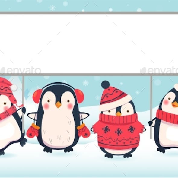 Two Penguins Holding Banner By Ollegn Graphicriver