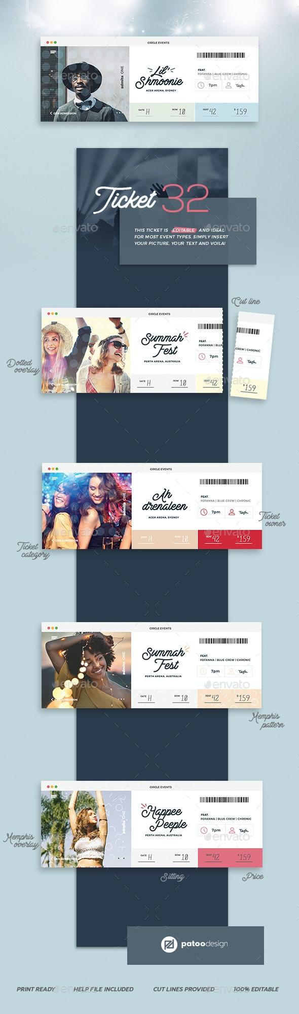 Event Tickets Template 32 - Miscellaneous Print Templates