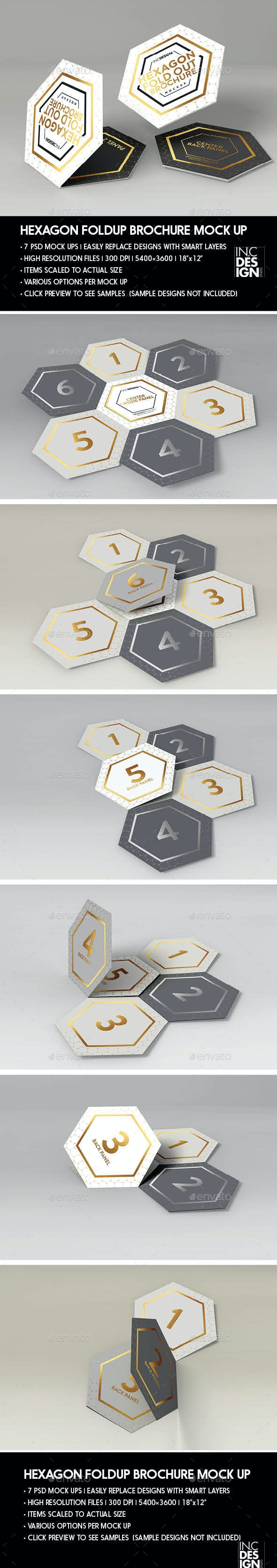 Hexagon Fold Out Style Brochure - Product Mock-Ups Graphics