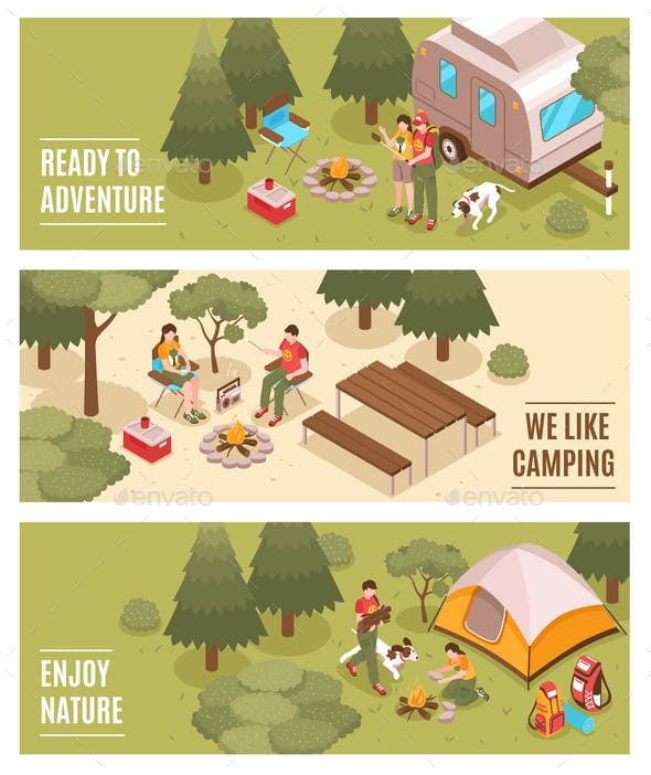 Camping Hiking Isometric Banners