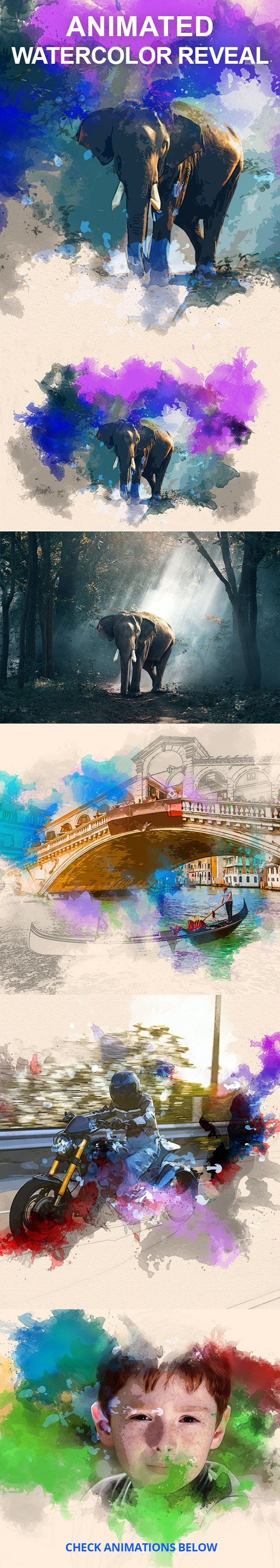 Animated Watercolor Reveal Photoshop Action - Photo Effects Actions