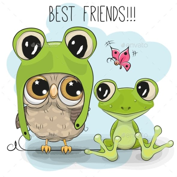 Cartoon Owl in a Frog Hat and Frog
