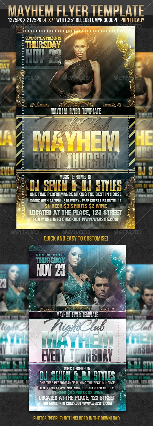 Mayhem Flyer Template - Clubs & Parties Events