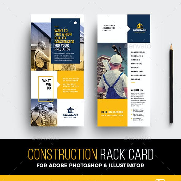 DL Construction Rack Card Template